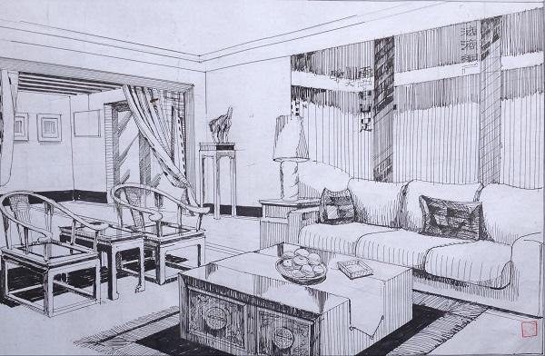 室内茶几手绘图